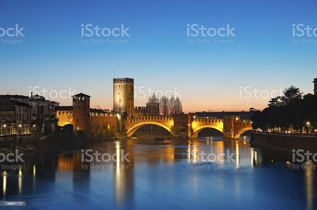 The beautiful sunset over Castelvecchio in Verona, Italy stock photo
