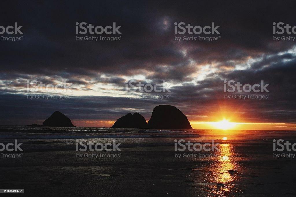 The beautiful sunset stock photo