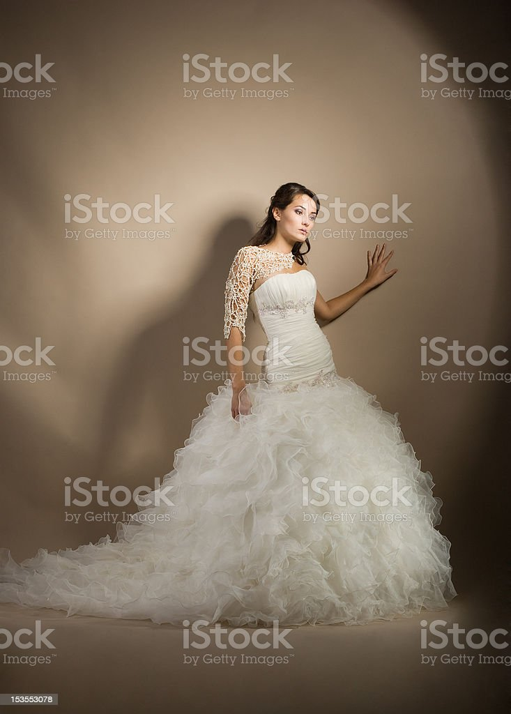 The beautiful young woman in a wedding dress royalty-free stock photo