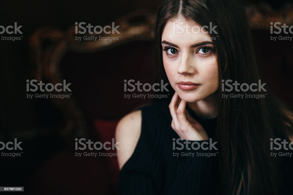 The beautiful young woman the brunette stock photo
