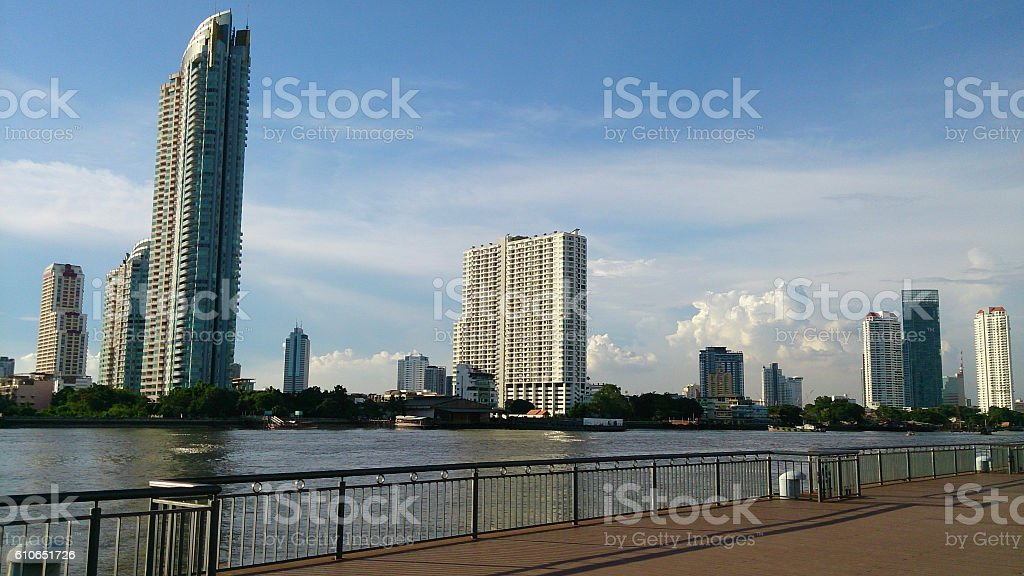 The beauty of the buildings on the waterfront. stock photo