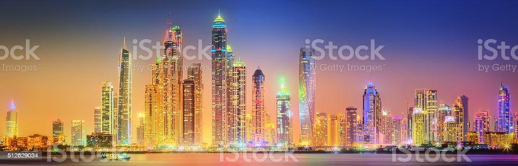 The beauty panorama of Dubai marina. UAE stock photo
