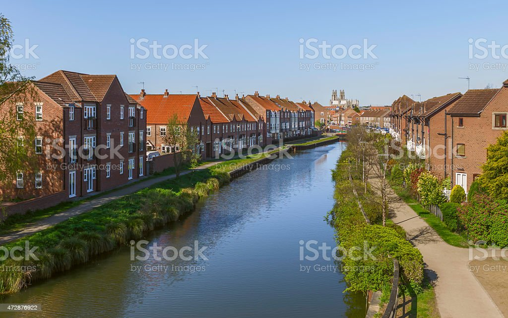 The beck (canal), houses, and the minster at Beverley, UK. stock photo