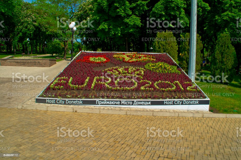 DONETSK, UKRAINE - MAY 22: The bed of flowers in the park devoted to a football tournament of Euro 2012. May 22, 2011 in Donetsk, Ukraine stock photo