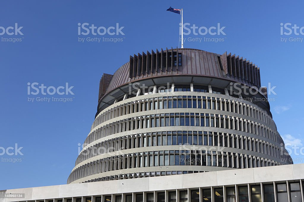 The Beehive, New Zealand Parliament royalty-free stock photo