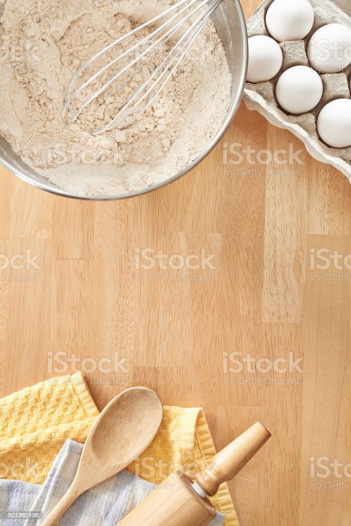 The beginning of biscuit batter stock photo