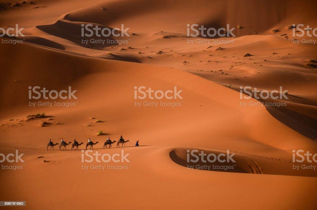 The beginning of the journey -Merzouga- Morocco stock photo