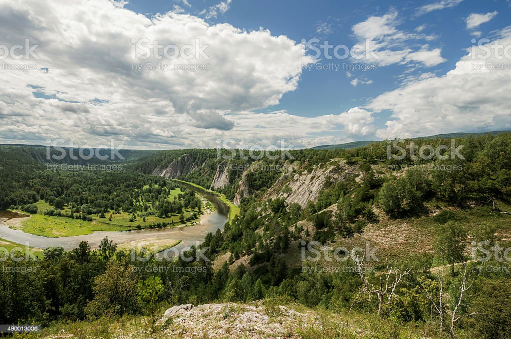 The Belaya River in the mountains of the southern Urals. stock photo