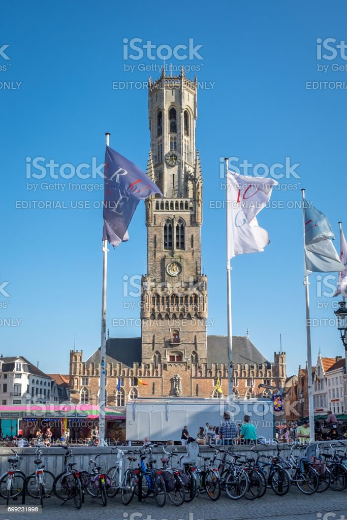The Belfry (Belfort) on the main square of Bruges stock photo