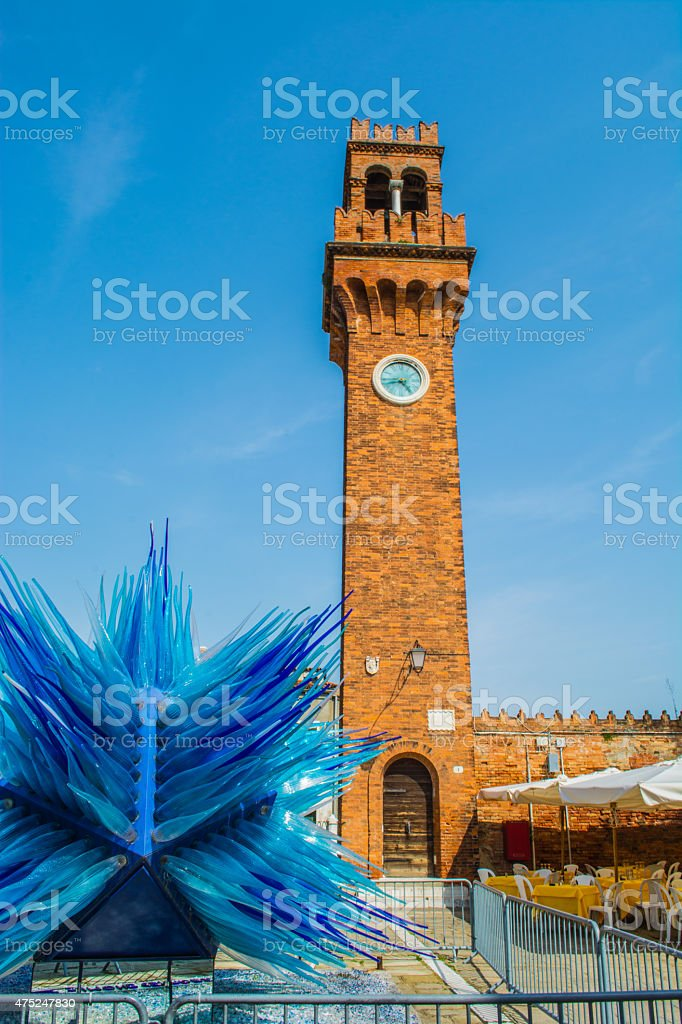The Bell and Clock Tower in Murano, Italy stock photo