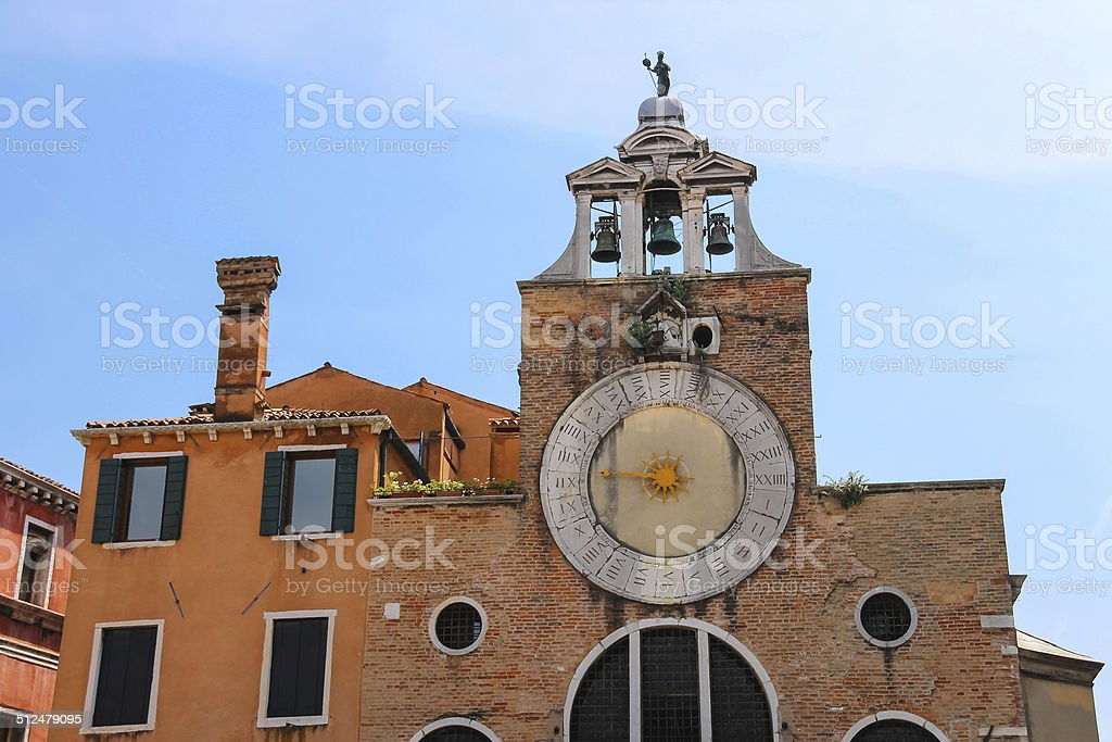 The bell of San Giacomo di Rialto church, Venice, Italy stock photo