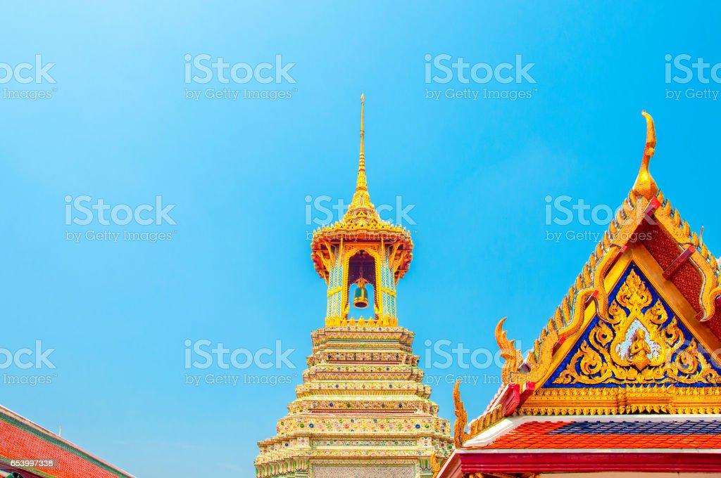 The Bell Tower at Wat Phra Kaew, Royal Grand Palace, Bangkok, Thailand. stock photo