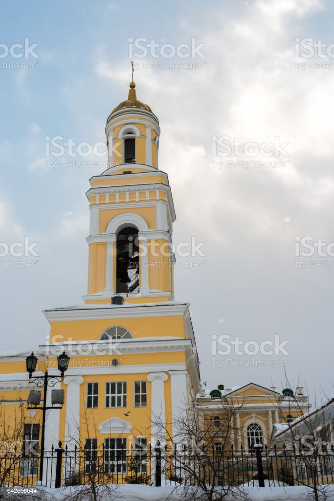 The bell tower of Church of St. Nicholas in Ekaterinburg, Russia stock photo