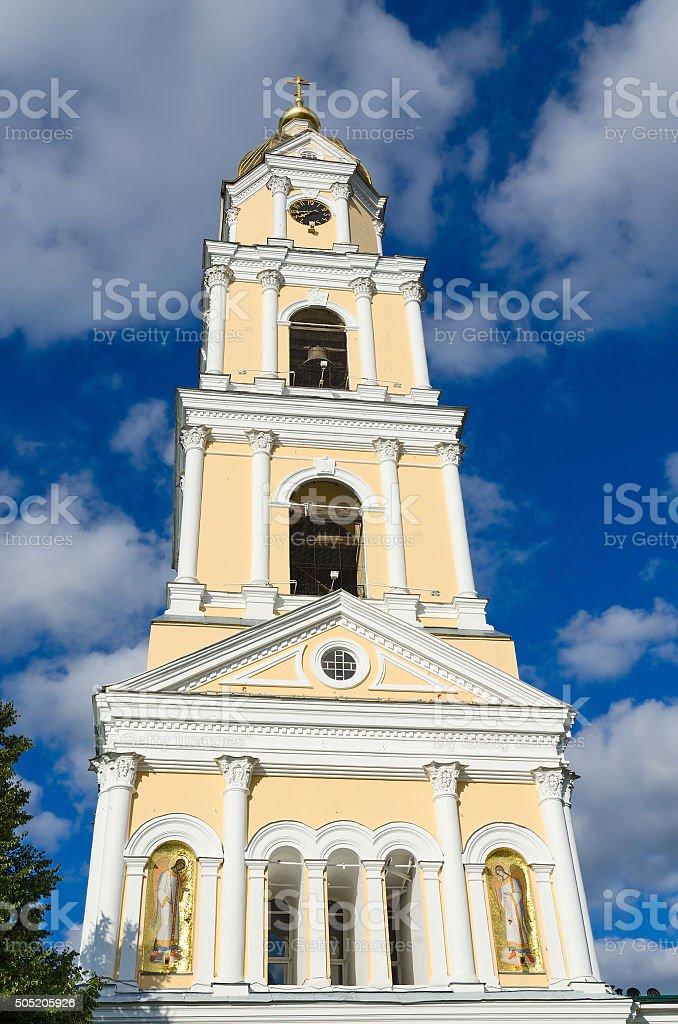 The bell tower of Holy Trinity Seraphim-Diveevo monastery, Russia stock photo