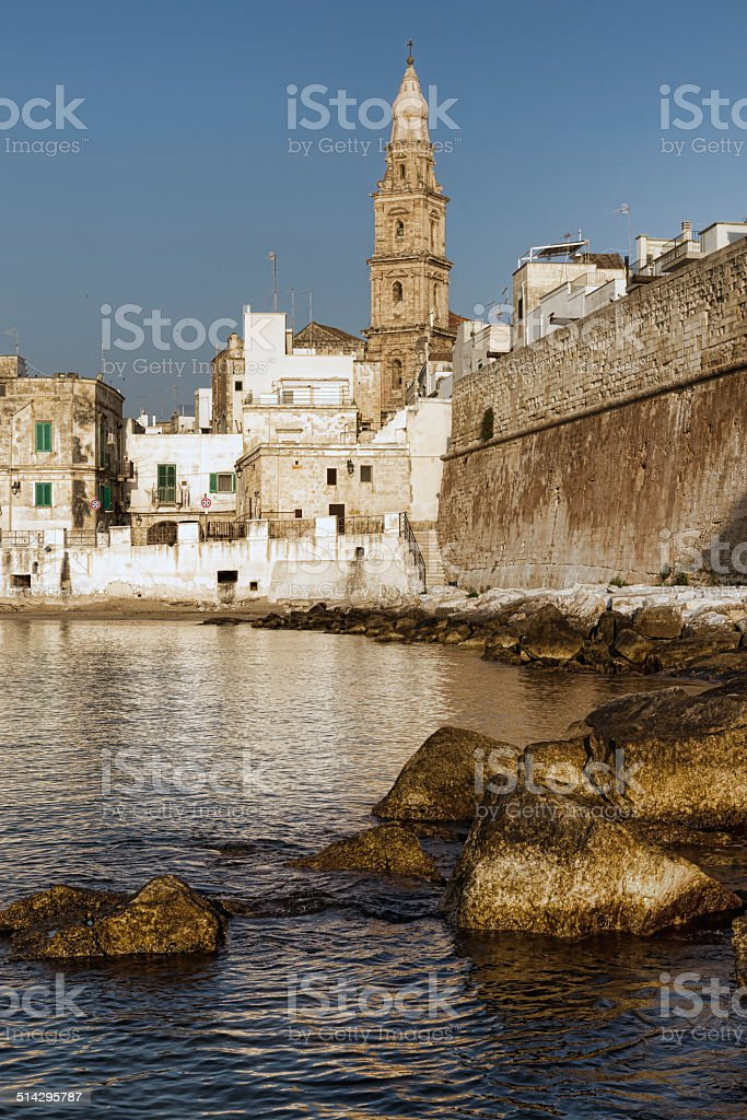 the bell tower of the basilica in Monopoli. Italy. stock photo