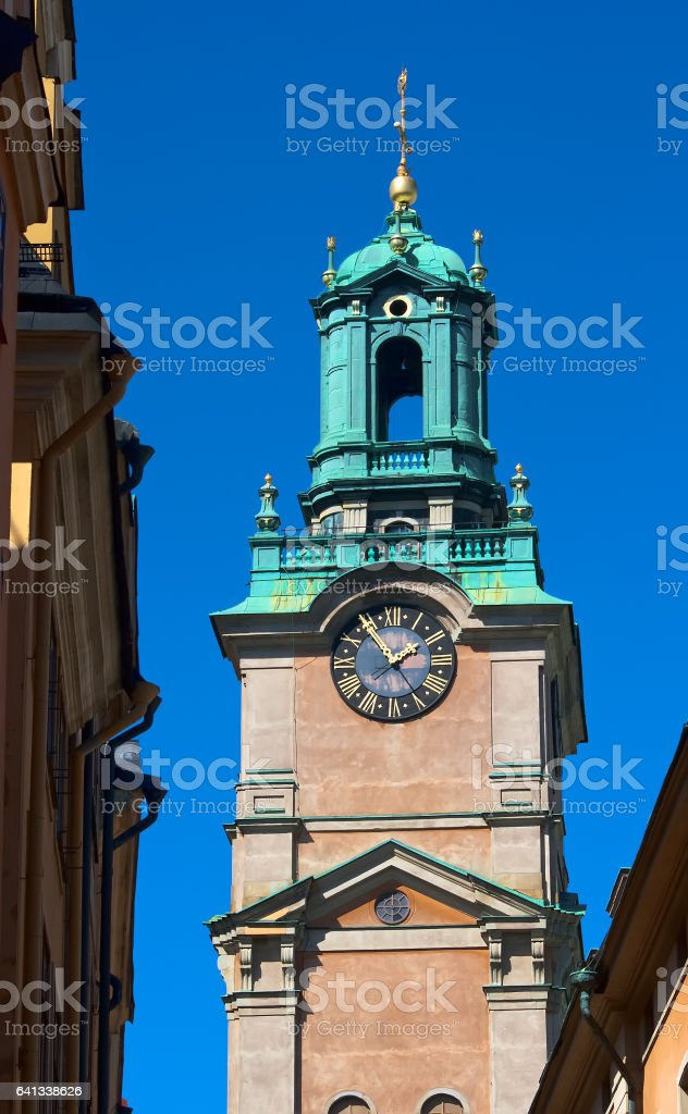 The bell tower of the church of St. Nicholas stock photo