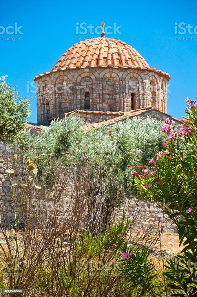 The bell tower of the Thari Monastery, Rhodes. stock photo
