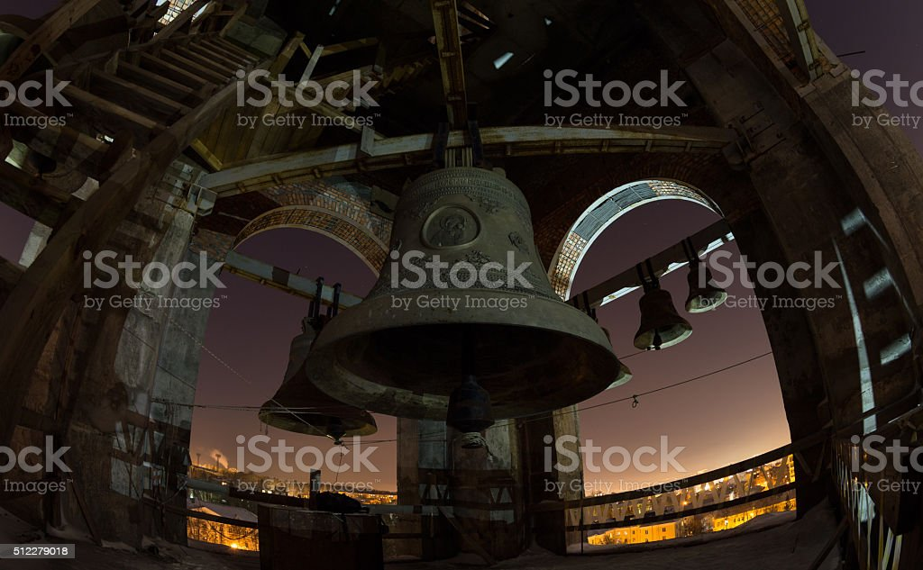 The bells and belfry, night view at the full moon stock photo