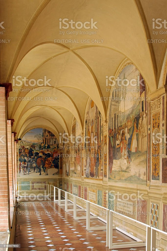 The Benedictine Monte Oliveto Abbey in Tuscany, Italy stock photo