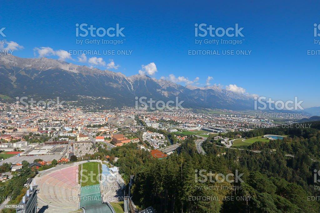 The Bergisel Ski Jump tower in Innsbruck, Austria stock photo