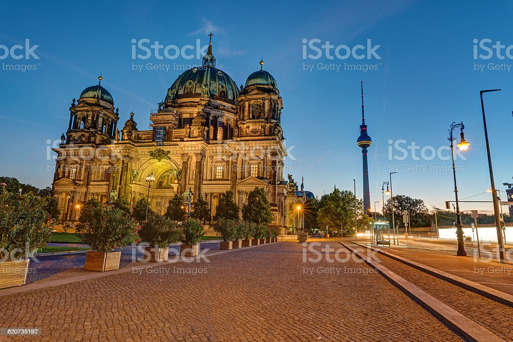 The Berlin Cathedral and the TV Tower stock photo