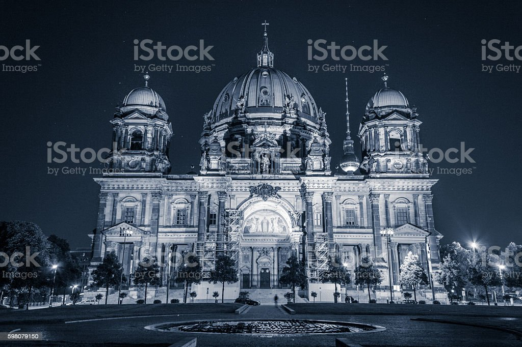 The berlin cathedral ( Berliner Dom) at night stock photo