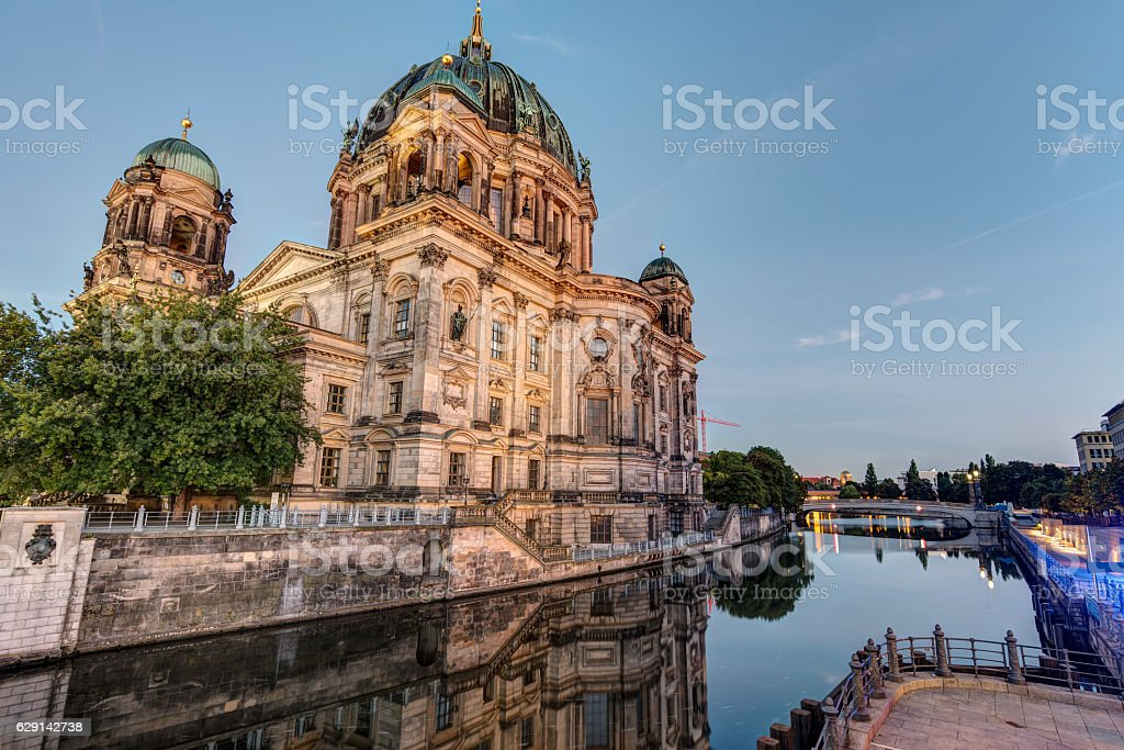 The Berlin Dom with the river Spree stock photo