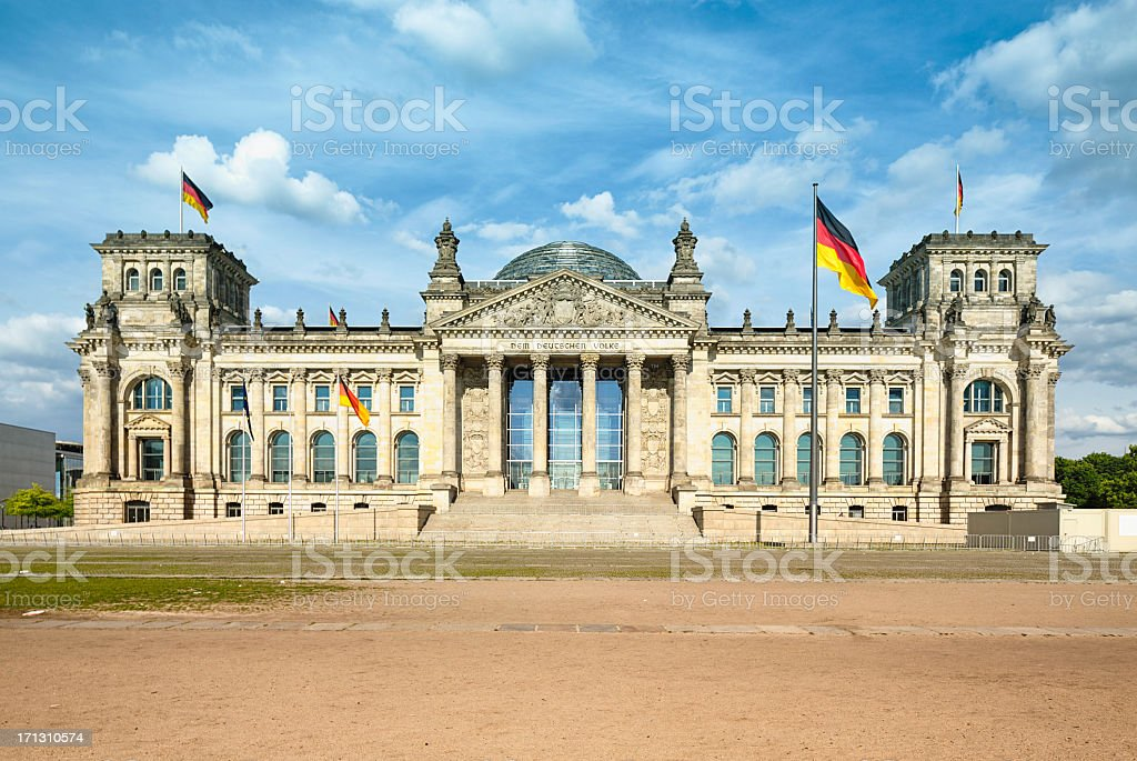 The Berlin Reichstag, daytime frontal view stock photo