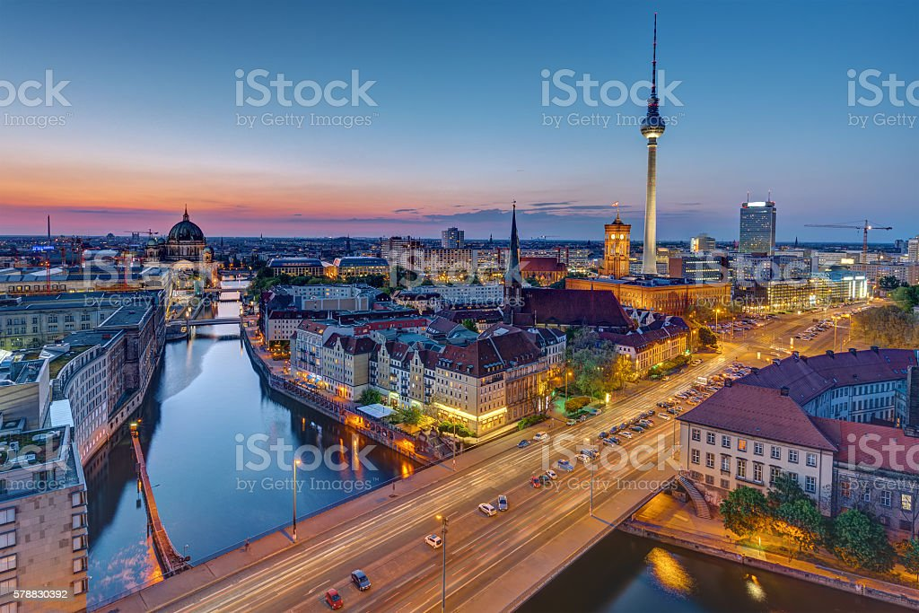 The Berlin skyline at the blue hour stock photo