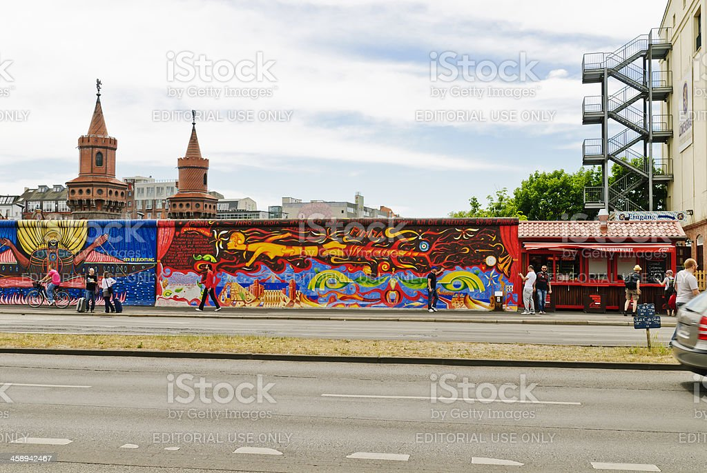 The Berlin Wall and Oberbaumbruecke royalty-free stock photo