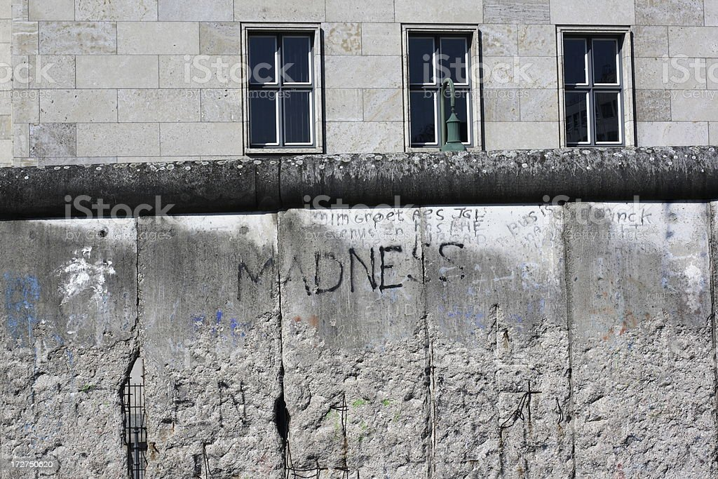 The Berlin Wall with Madness inscript royalty-free stock photo