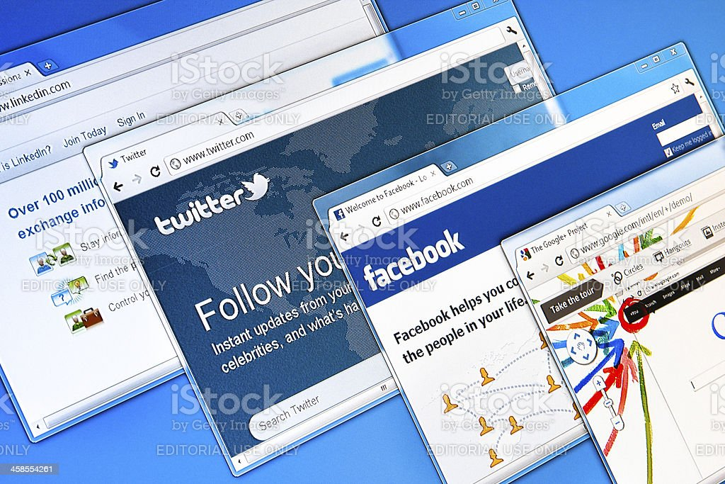 The Best 4 Social Networking Sites: Facebook, Linkedin, Twitter, Google+ royalty-free stock photo