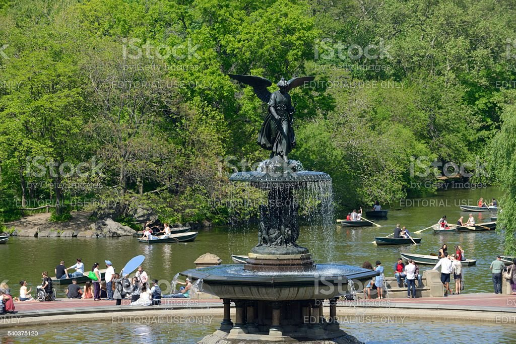 The Bethesda Fountain in Central Park New York City stock photo