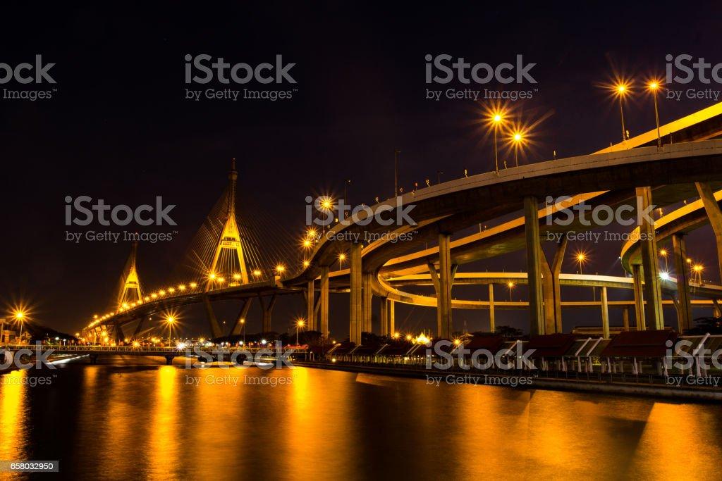 The Bhumibol Bridge also known as the Industrial Ring Road Bridge, Bangkok, Thailand. stock photo