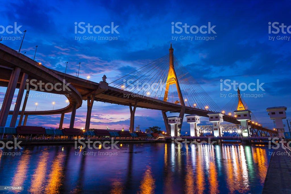 The Bhumibol Bridge,Thailand royalty-free stock photo