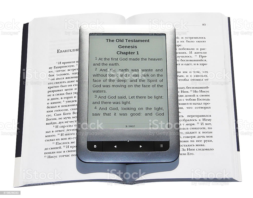 The Bible (the book and e-book) stock photo