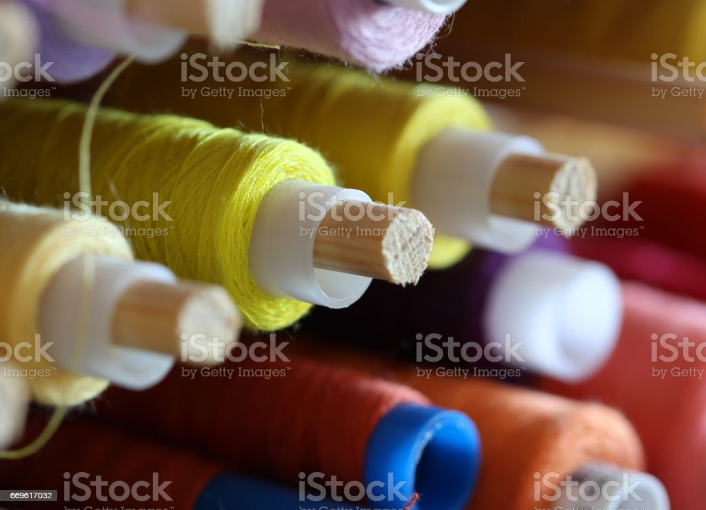 the big amount of spools with colorful threads stock photo