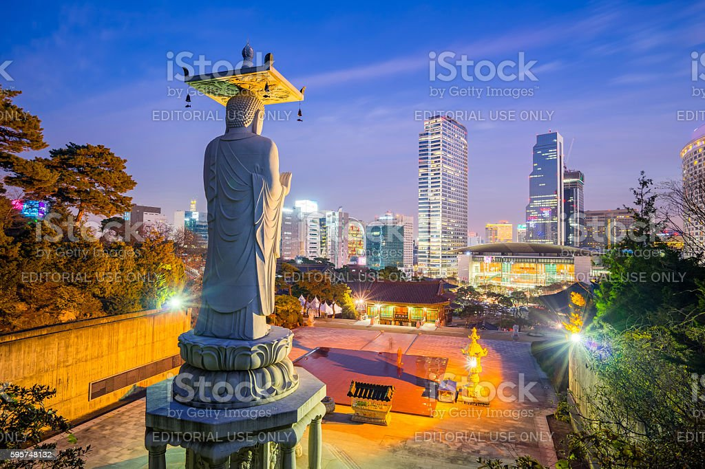 The Big Buddha in Bongeunsa Temple - Seoul, South Korea stock photo