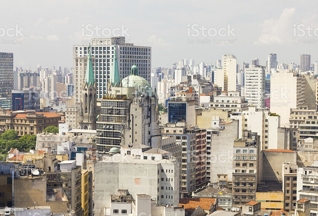 The big city of Sao Paulo and the Se Cathedral royalty-free stock photo