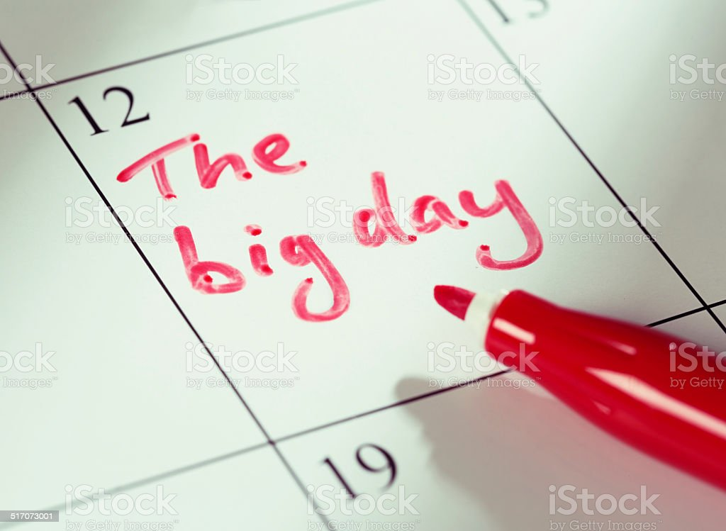 'The big day' marked in red on calendar stock photo