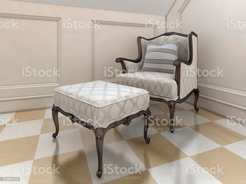 The big easy chair in the bathroom in English style. stock photo