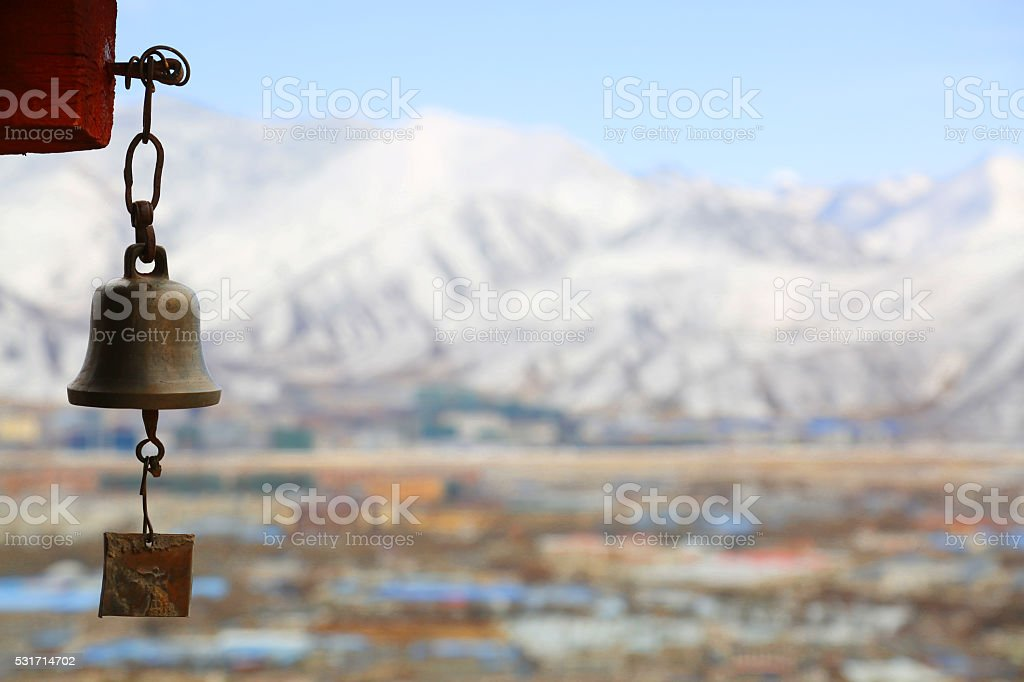 the big golden bell with dragon decorations stock photo