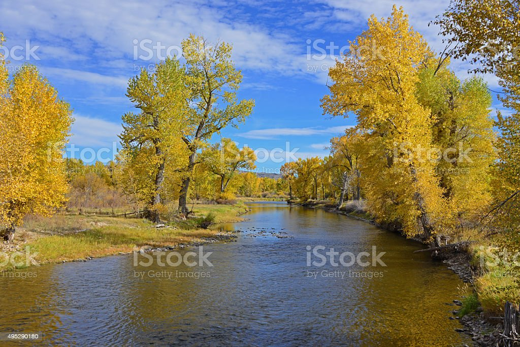 The Big Hole River near Melrose, Montana stock photo