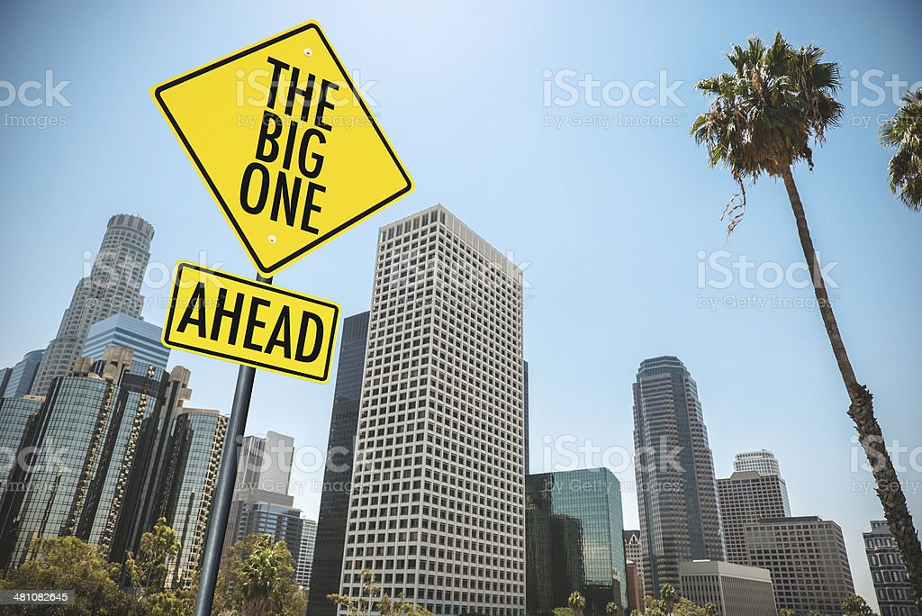 the big one earthquake road sign in los angeles stock photo