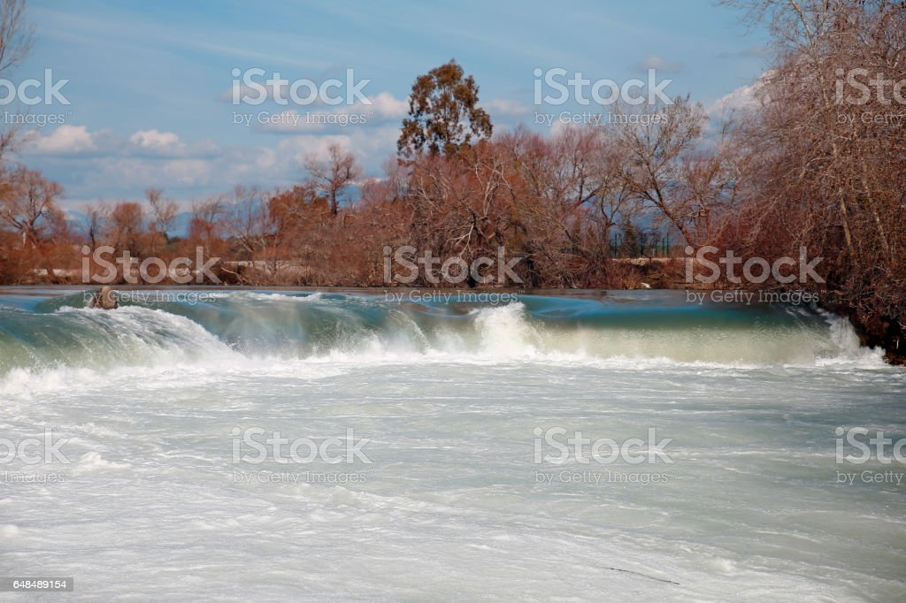 The big river and waterfall in Turkey. stock photo