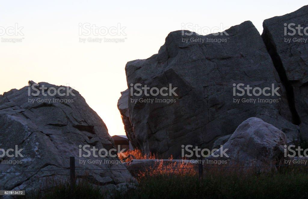 The Big Rock, Okotoks Erratic, at Sunrise stock photo