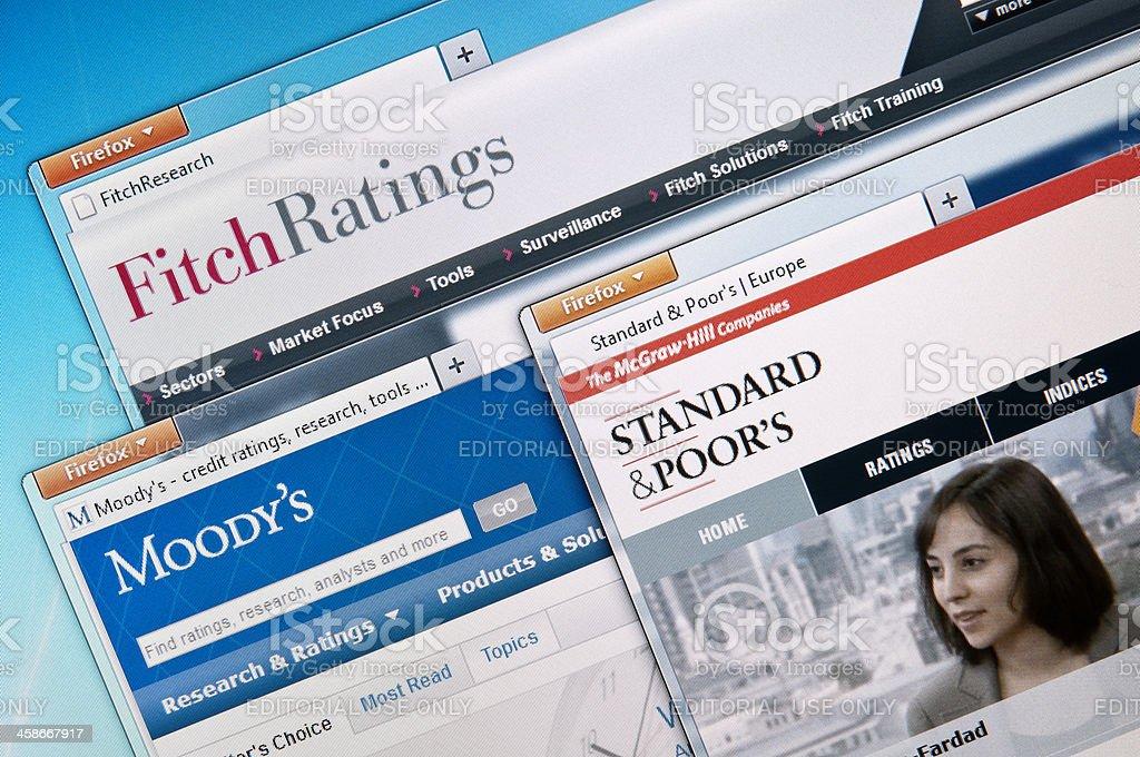 The Big Three credit rating agencies stock photo