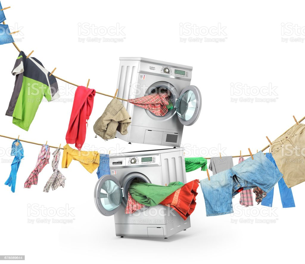 The big washing concept. Clothing on the ropes rushes from the washing machine and dryer isolated on a white background vector art illustration