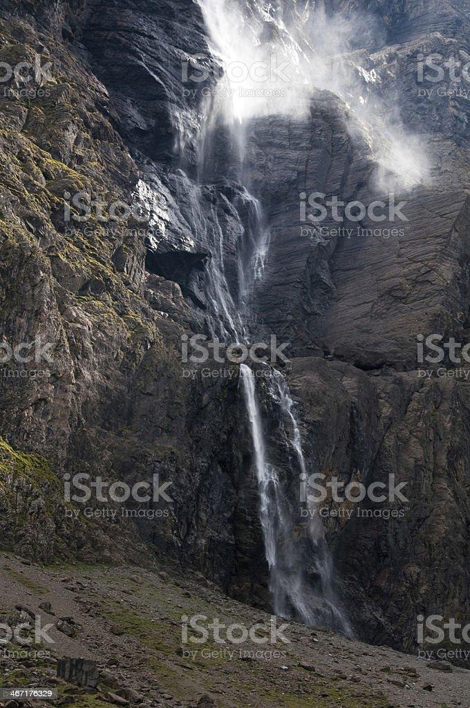 The big waterfall, Cirque of Gavarnie, Pyrenees (France) stock photo