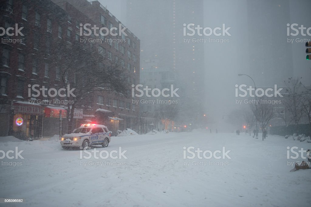 The biggest snow storm blizzard covered East coast of USA stock photo